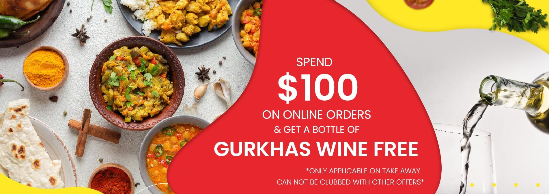 Takeaway from Restaurants and Get Gurkhas Wine Free